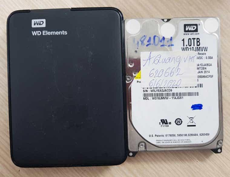 Cứu dữ liệu ổ cứng gắn ngoài WD Elements