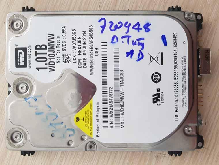Phục hồi dữ liệu Box WD 1TB.
