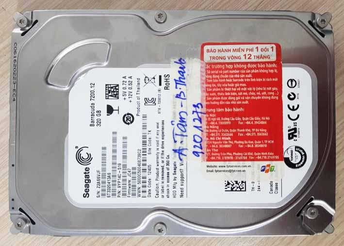Phục hồi dữ liệu ổ cứng Seagate 320GB.