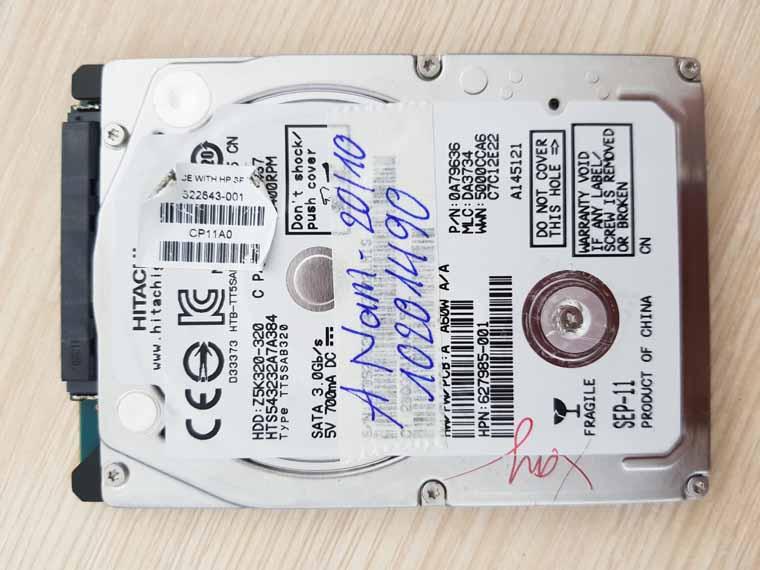 Cấp cứu dữ liệu ổ laptop hitachi 320GB.